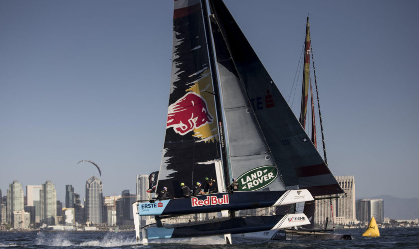 The Extreme Sailing Series 2017. Act 8. 19th - 22nd October 2017. San Diego, California, USA.'Red Bull Sailing Team' shown here in action close to the city during racing. Skippered by Roman Hagara (AUT) with team mates Hans Peter Steinacher (AUT), Stewart Dodson (NZL), Adam Piggott (GBR)