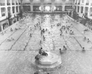 a swimming pool that people swam in for fun