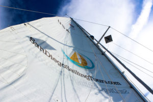 view looking up on a sail with blue skies and clouds above, the sail making a point above viewer. San Diego Sailing Tours logo on sail