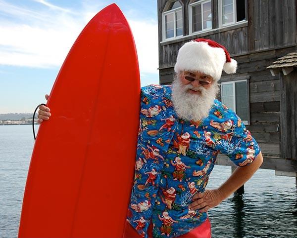 Here Comes Surfing Santa!