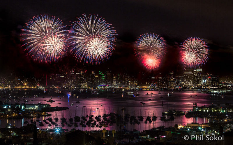 fireworks over the San Diego Bay