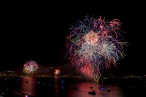 fireworks over San Diego Bay