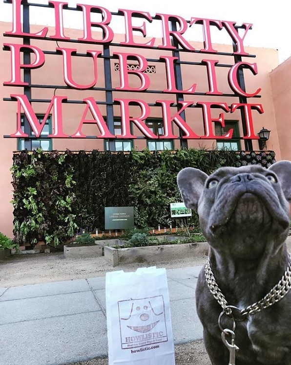 French terrier dog to the right looking upwards with liberty public market sign behind him
